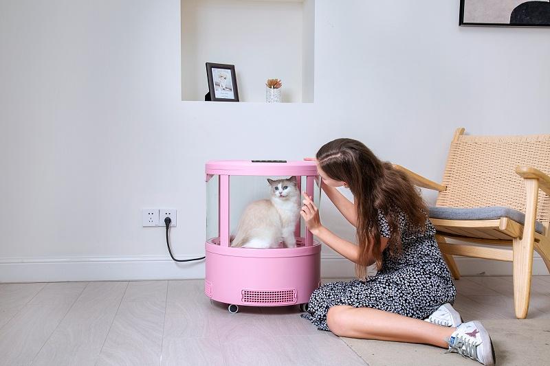 欧科达负离子猫咪烘干箱,2650W恒温出风,在家照样轻松吹干!